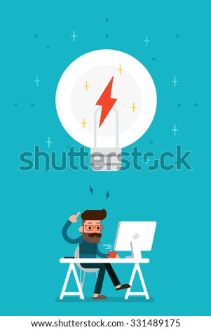 Man thinking. - stock vector