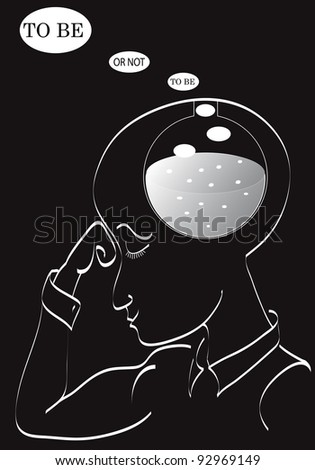 Man thinking. To be or not to be - stock vector