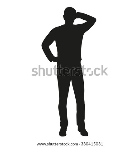 Man thinking. Vector silhouette. The man does not know, does not know the answer - stock vector
