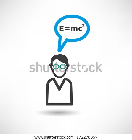 Man thinks about physics.  concept icon - stock vector