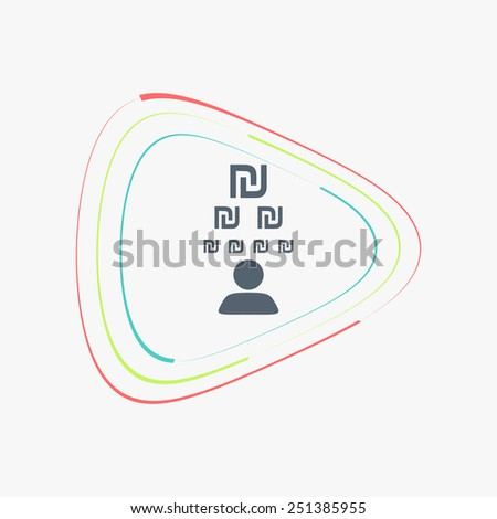 Man thinks about the money icons. Israeli Shekel currency symbol. Flat design style. Made in vector illustration - stock vector