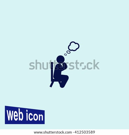Man thinks icon. Man thinks vector. Simple icon isolated on gray background. - stock vector