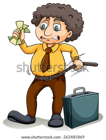 Man tightening his belt which shows a financial crisis on a white background - stock vector