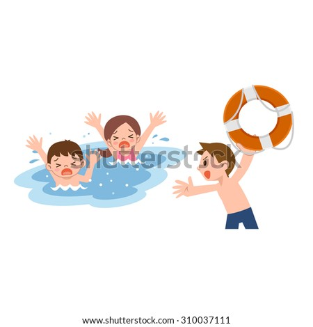Man to rescue the children who drown - stock vector