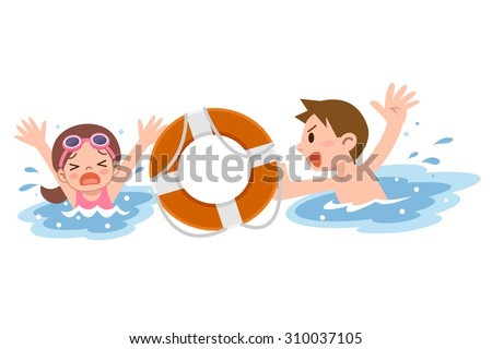 Man to rescue the girl drown - stock vector