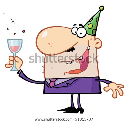 Man Toasting At A New Years Party - stock vector