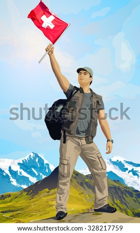 Man tourist standing on mountain top with swiss flag - stock vector