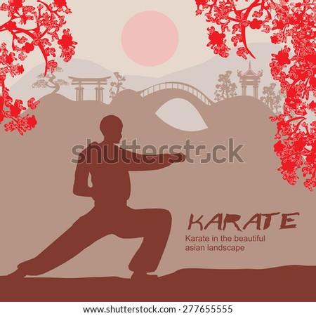 man training karate  - stock vector
