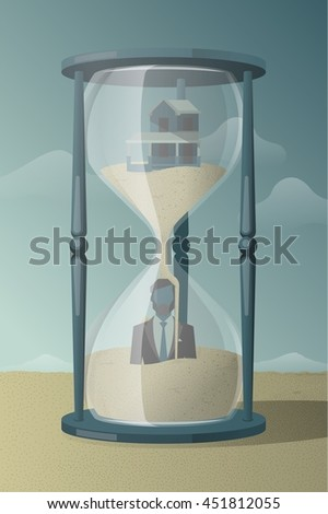 man trapped in hourglass, vector illustration - stock vector