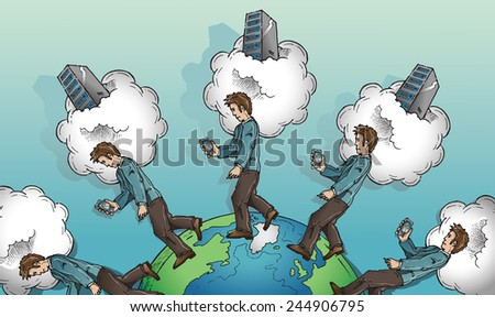 Man traveling globe connected to cloud. Cloud computing concept. Hand drawn color vector sketch on white background. - stock vector