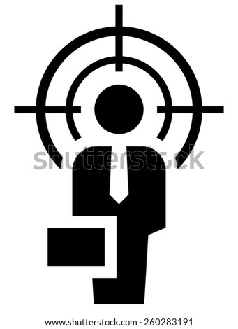 Man under crosshair - stock vector