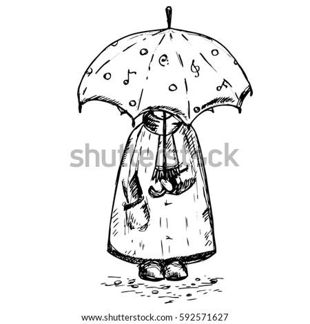 Man Under Umbrella Rain Drops Kid Cartoon Character For Children Room Romantic Posters