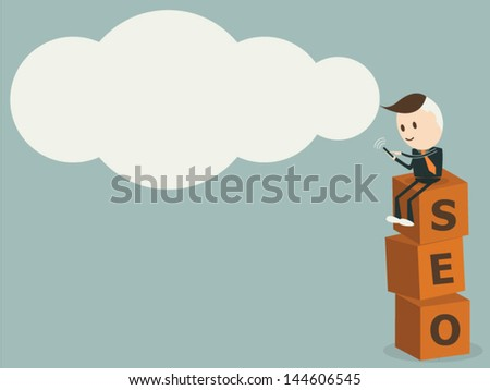Man use tablet on seo symbol ,Cloud computing concept, vector format - stock vector
