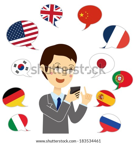 Man use the translation application - stock vector