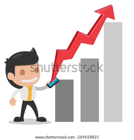 Man Used Smart Phone Stock Market Up Vector - stock vector