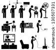 Man Using Home Appliances Entertainment Leisure Electronics Equipments Stick Figure Pictogram Icon - stock vector