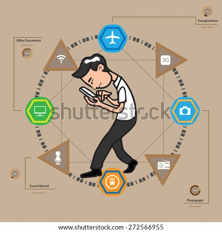 Man using mobile phone infographic vector - stock vector