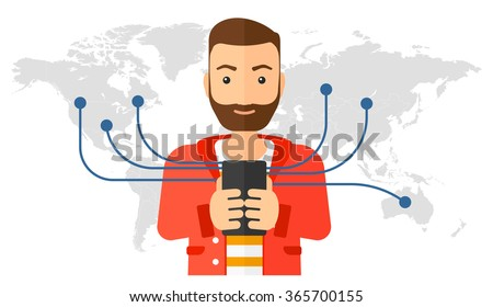 Man using smartphone.