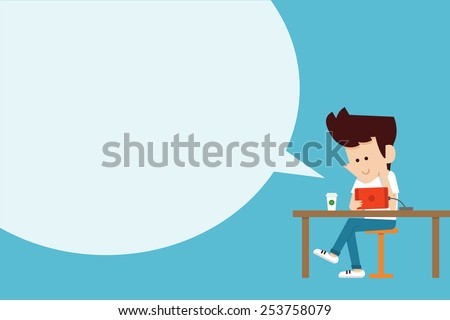 man using tablet flat design cartoon.