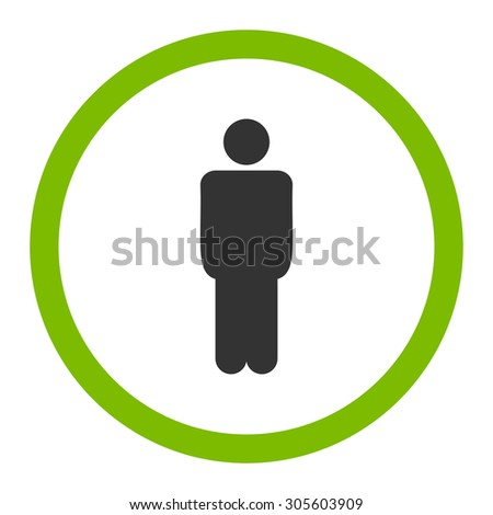 Man vector icon. This rounded flat symbol is drawn with eco green and gray colors on a white background.