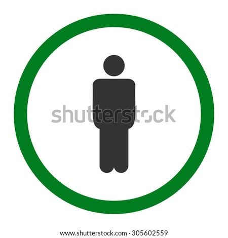 Man vector icon. This rounded flat symbol is drawn with green and gray colors on a white background.