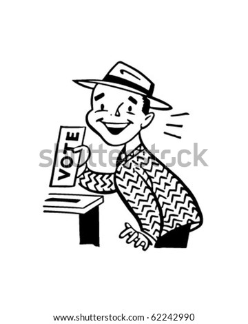 Man Voting - Retro Clipart Illustration
