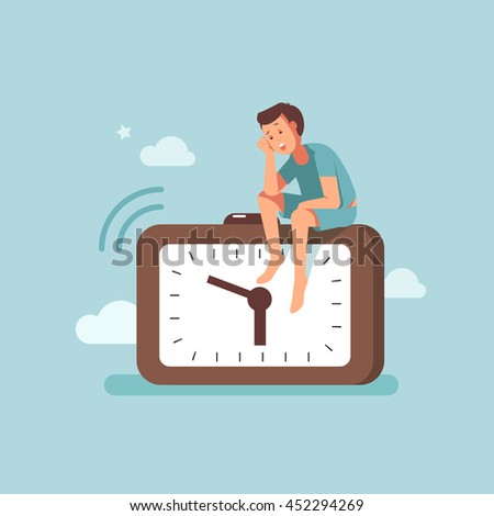 Man wakes up early in the morning with alarm clock - stock vector
