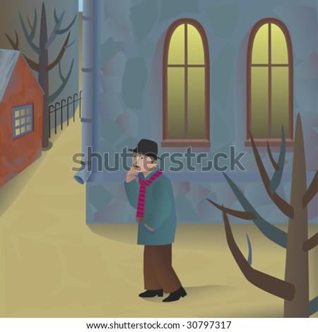 Man walking along the street - stock vector