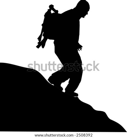man walking in the mountain - stock vector