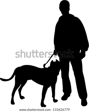 man walking with a dog silhouette vector