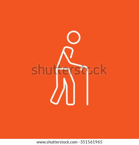 Man walking with cane line icon for web, mobile and infographics. Vector white icon isolated on red background. - stock vector