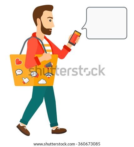 Man walking with smartphone. - stock vector