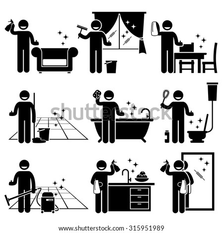 Man washing and cleaning house sofa, windows, wooden furniture, floor, bathtub, toilet bowl, kitchen, and mirror at home. - stock vector