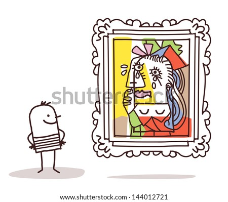 man watching a Pablo imitation - stock vector
