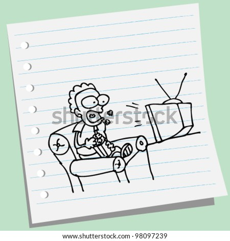 man watching tv doodle illustration - stock vector