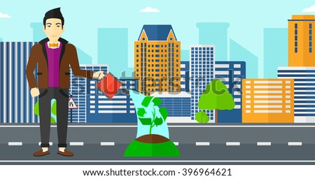 Man watering tree with recycle sign instead of crown. - stock vector