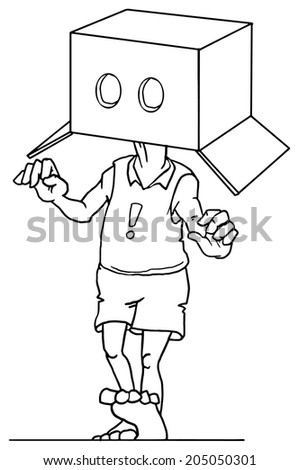 Man wearing a box with eye holes, vector illustration  - stock vector