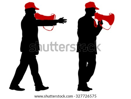 Man wearing a cap with a megaphone on a white background - stock vector