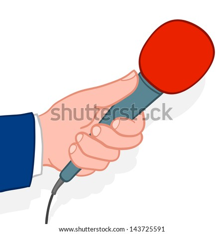 Man wearing a suit holding out a microphone for a response during an interview conceptual of a compere, reporter, journalist, talk show host or commentator, doodle illustration - stock vector