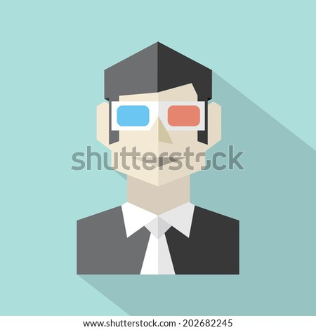 Man Wearing 3D Glasses Icon - stock vector