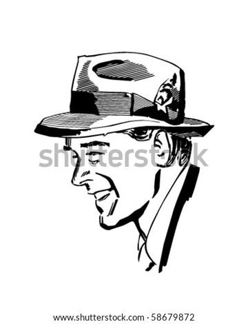 Man Wearing Fedora - Retro Clip Art - stock vector