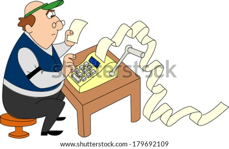 Man wearing green visor running adding machine and piling up - stock vector