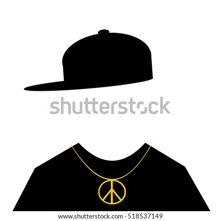man wearing hip hop fashion with peace sign necklace