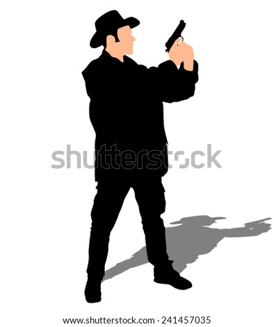 Man wearing vintage hat with gun, vector