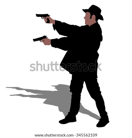 Man wearing vintage hat with two guns, vector  - stock vector