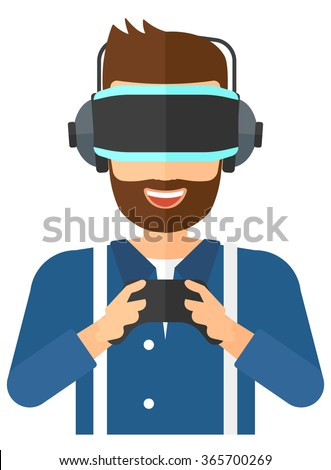 Man wearing virtual reality headset. - stock vector