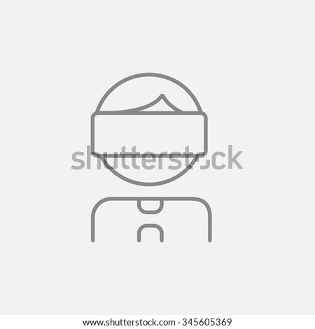 Man wearing virtual reality headset line icon for web, mobile and infographics. Vector dark grey icon isolated on light grey background. - stock vector