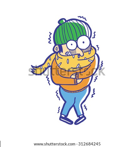 man wearing winter fashion get freezing - stock vector