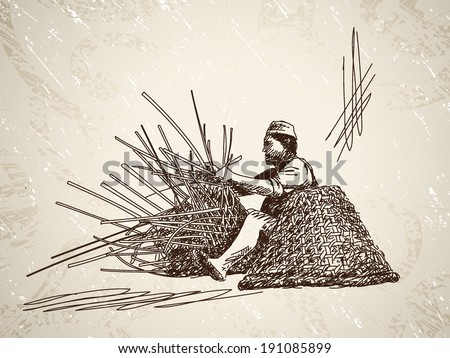 Man weaves a basket of bamboo. Hand drawn illustration - stock vector