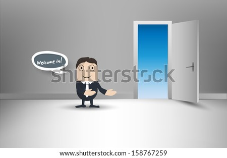 Man welcoming guests in room - stock vector